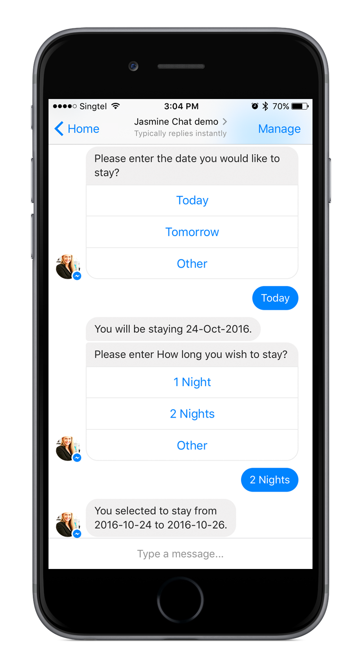 Chatbot - select date